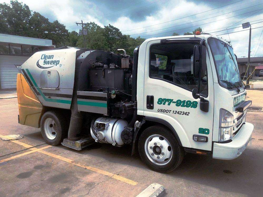 A Clean Sweep, Inc. converted bi-fuel propane sweeping truck.