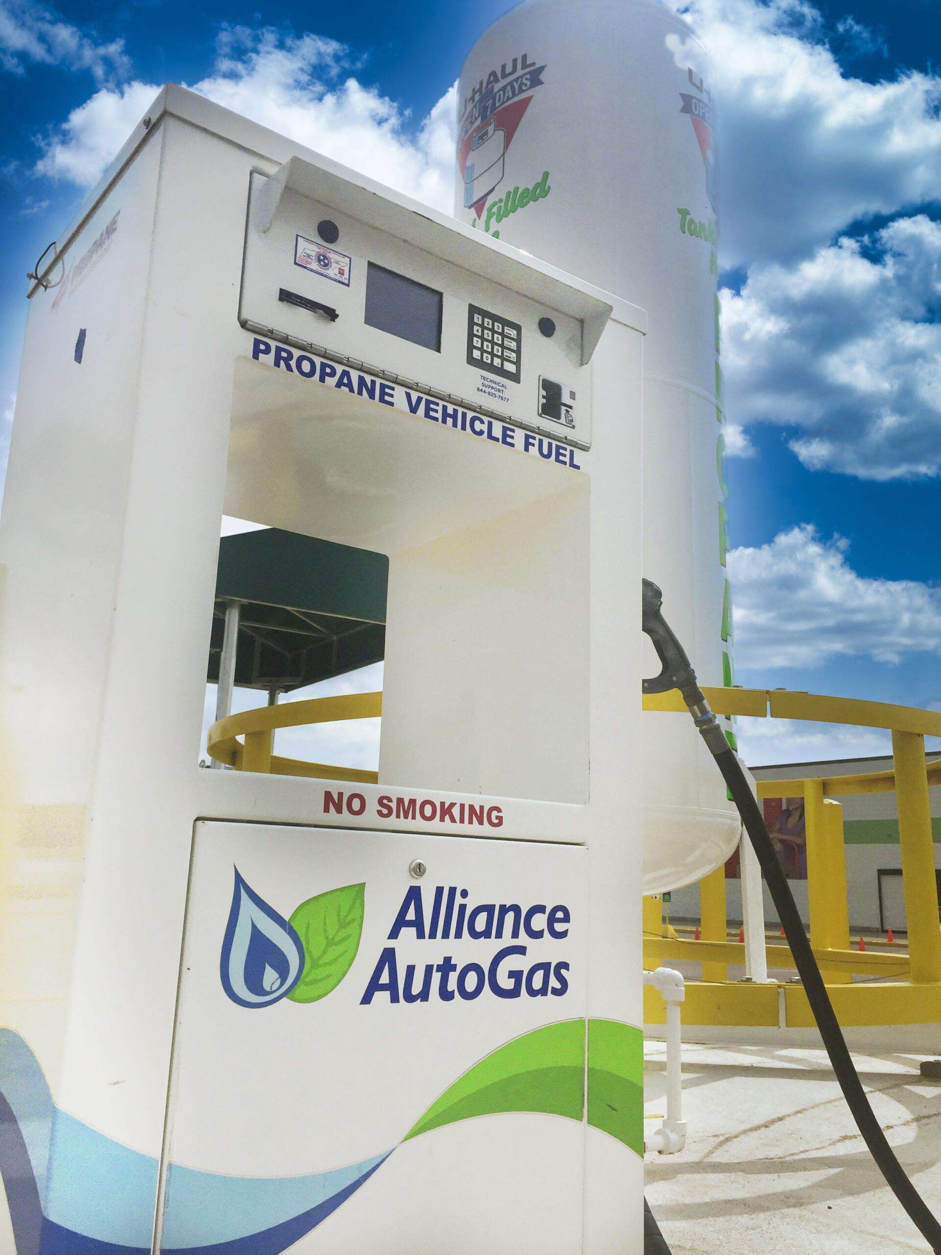 Alliance AutoGas propane vehicle refueling station at U-Haul facility