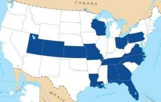 "Map of the participating states in the ""DRIVE Electric USA"" project."