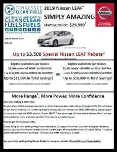 Nissan Leaf discount info