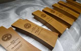 Line of Awards on Table