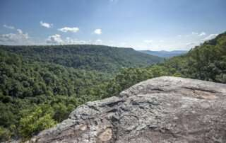Cliff overlooking large green space with tress and blue sky above in Tennessee