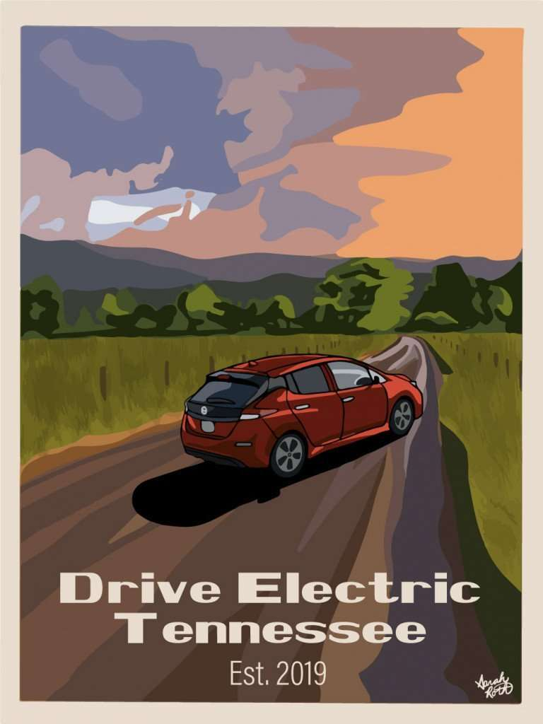 """A posterized Nissan Leaf on a country road, set against a rural sunset background. The poster reads """"Drive Electric Tennessee, est. 2019."""""""